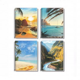 CADERNO ESPIRAL 1/4 CAPA DURA 200FLS HAPPY ADVENTURE