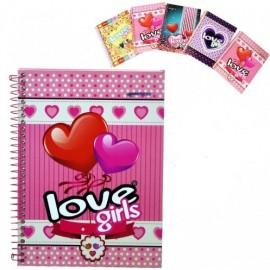 CADERNO ESPIRAL 1/4 CAPA DURA 96 FLS LOVE GIRLS