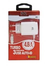 CARREGADOR USB 4.8A COM 3 PORTAS USB COM CABO TIPO C REF MAX-CAR92