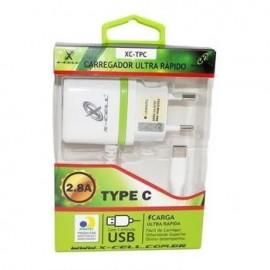 CARREGADOR USB 2.8A ULTRA RAPIDO COM 1 ENTRADA TYPE C REF XC-TPC