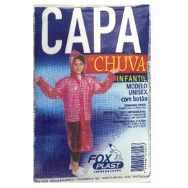 CAPA DE CHUVA PLASTICA INFANTIL COM BOTAO
