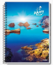 CADERNO UNIVERSITARIO 1X1 CAPA FLEXIVEL 96 FLS HAPPY ADVENTURE