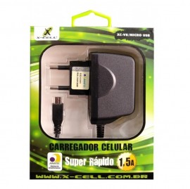CARREGADOR USB 1.5A SUPER RAPIDO COM 1 ENTRADA USB  MICRO USB REF XC-V8/MICRO USB