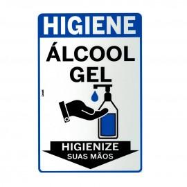 PLACA SINALIZACAO 20X30 CM ALCOOL GEL