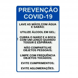 PLACA SINALIZACAO 20X30 CM PREVENCAO COVID-19