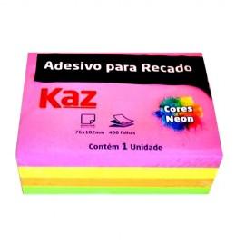 BLOCO ADESIVO 76X102 NEON  4 CORES 400 FLS KZ4002