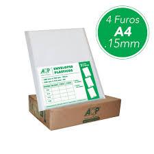 ENVELOPE PLASTICO A4 4 FUROS GROSSO PT100