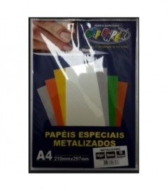 PAPEL ESPECIAL METALIZADO BRANCO A4 15G 15 FLS