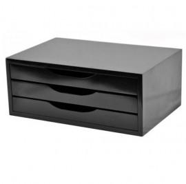 SUPORTE DE MONITOR 3 GAVETAS MDF BLACK PIANO REF 3347 15,5CM ALTURA 25,5 CM PROFUNDIDADE E 38CM COMPRIMEMTO