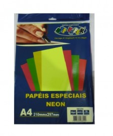 PAPEL ESPECIAL NEON AMARELO A4 180G 20 FLS