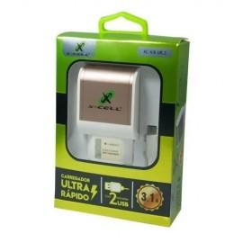 CARREGADOR USB 3.1A ULTRA RAPIDO COM 2 ENTRADAS USB  MICRO USB REF XC-V8-UR2
